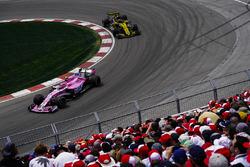 Esteban Ocon, Force India VJM11, devant Nico Hulkenberg, Renault Sport F1 Team R.S. 18