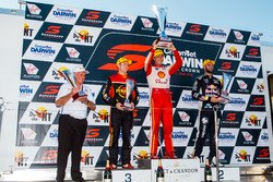 Podium: second place David Reynolds, Erebus Motorsport Holden, Race winner Scott McLaughlin, DJR Team Penske Ford, third place Shane van Gisbergen, Triple Eight Race Engineering Holden