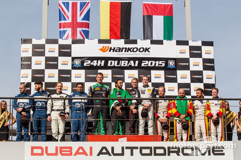 General podium: race winners Abdulaziz Al Faisal, Hubert Haupt, Yelmer Buurman, Oliver Webb, second