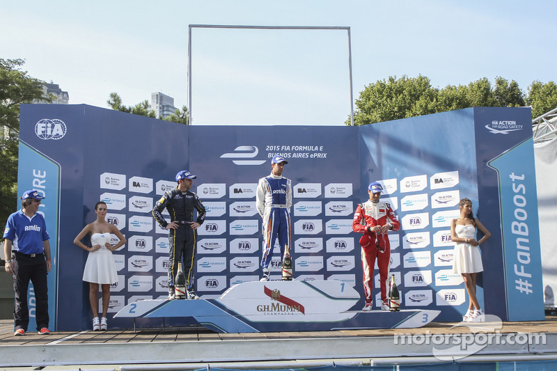 Podium: race winner Antonio Felix da Costa, second place Nicolas Prost, third place Nelson Piquet Jr..