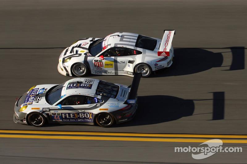 #44 Magnus Racing Porsche 911 GT America: John Potter, Andy Lally, Marco Seefried, Martin Ragginger, #911 Porsche North America Porsche 911 RSR: Nick Tandy, Marc Lieb, Patrick Pilet, Michael Christensen