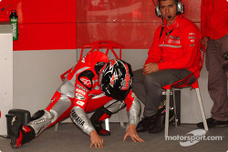 Carlos Checa gets ready for the race