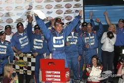 Victory lane: race winner David Starr celebrates