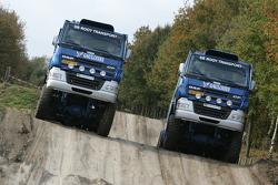 Team de Rooy presentation: Gerard de Rooy and Jan de Rooy test the rally truck DAF CF75 FAV4x4