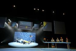 Fernando Alonso, Giancarlo Fisichella and Flavio Briatore on stage