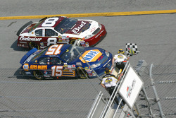 Michael Waltrip takes the checkered flag ahead of Dale Earnhardt Jr.