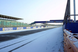 Snow in the pitlane