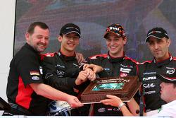 Minardi team launch: Paul Stoddart, Patrick Friesacher, Christijan Albers and Chanock Nissany celebrate