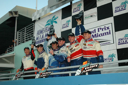 GT podium: class winner Marc Bunting and Andy Lally, with Michael Levitas and Randy Pobst, and John Littlechild and Spencer Pumpelly