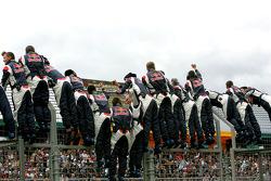 Red Bull Racing team members celebrate