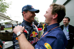 David Coulthard celebrates with Christian Horner