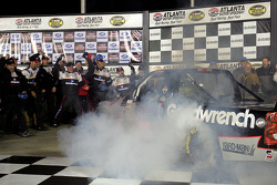 Race winner Ron Hornaday celebrates