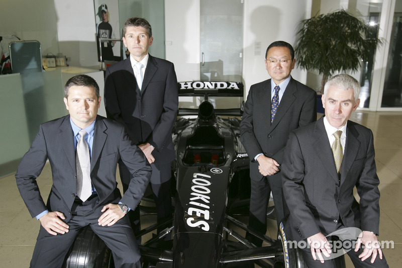 Gil de Ferran, BAR Honda Sporting Director, Nick Fry, BAR Honda Chiel Executive Officer, Yasuhiro Wada, President of Honda Racing Development, and Geoffrey Willis, BAR Honda Technical Director