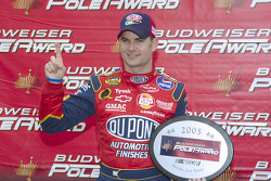 Pole winner Jeff Gordon celebrates