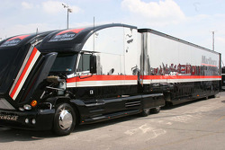 A team Penske hauler in the compound