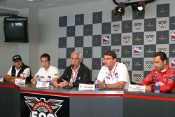 Marlboro Team Penske press conference: Rick Mears, Sam Hornish Jr., Roger Penske, Tim Cindric and Helio Castroneves