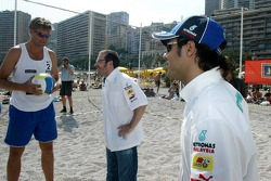 RTL beach volley match: Jacques Villeneuve and Felipe Massa