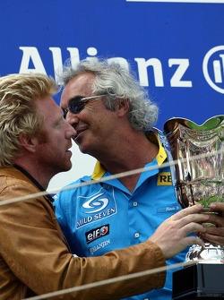 Podium: Boris Becker and Flavio Briatore