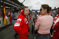 Jean Todt and girlfriend Michelle Yeoh on the starting grid