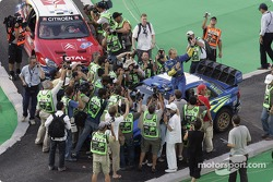 Petter Solberg talks to the fans