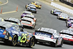 The pace car leads the pack on the pace lap