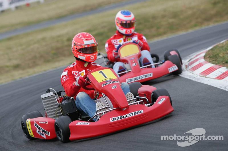 Bridgestone karting event: Michael Schumacher and Rubens Barrichello
