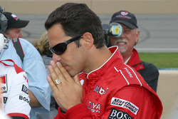 Helio Castoneves is nervous as he waits to see if he wins the pole