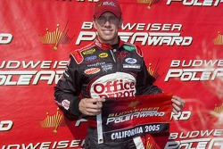 Pole winner Carl Edwards celebrates