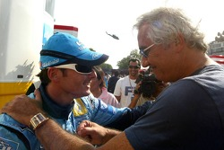 Giancarlo Fisichella congratulated by Flavio Briatore