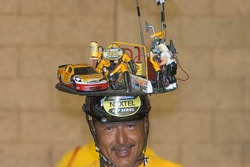 Dedicated NASCAR fan shows off his hat