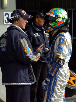 Team boss Mark Larkham briefs Mark Winterbottom