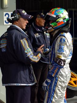 Team boss Mark Larkham briefs Mark Winterbottom