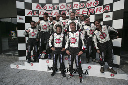 Go-kart event in Sao Paulo: Enrique Bernoldi and Jenson Button at the podium