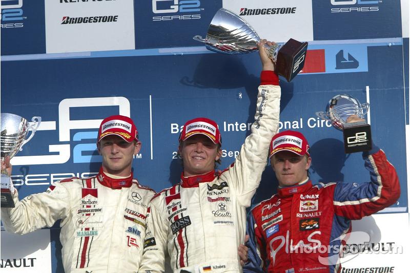 Podio: ganador de la carrera  y campeón GP2 Series 2005 Nico Rosberg celebra con Alex Premat y Heikki Kovalainen