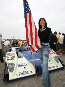 Girlfriend of Guy Smith, flag girl for Dyson Racing