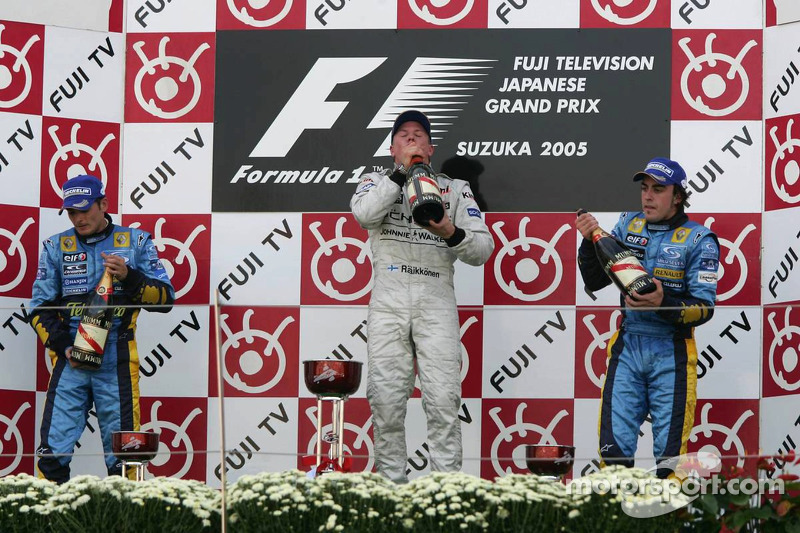 2005 Podium: 1. Кimi Raikkonen, McLaren-Mercedes. 2. Giancarlo Fisichella, Renault. 3. Fernando Alonso, Renault