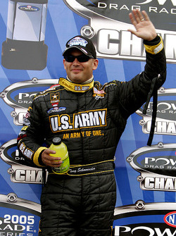 Tony Schumacher celebrates after clinching the 2005 Top Fuel division win at the 5th Annual ACDelco Las Vegas NHRA Nationals