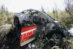The wrecked Peugeot of Daniel Carlsson and Mattias Andersson