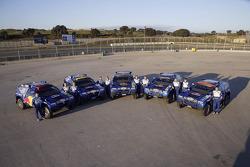 Volkswagen Motorsport rollout at Jarama: Jutta Kleinschmidt, Fabrizia Pons, Mark Miller, Dirk von Zitzewitz, Bruno Saby, Michel Périn, Carlos Sainz, Andreas Schulz, Giniel De Villiers and Tina Thorner