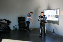 Ryan Newman helps clean up the Alltel Dodge garage
