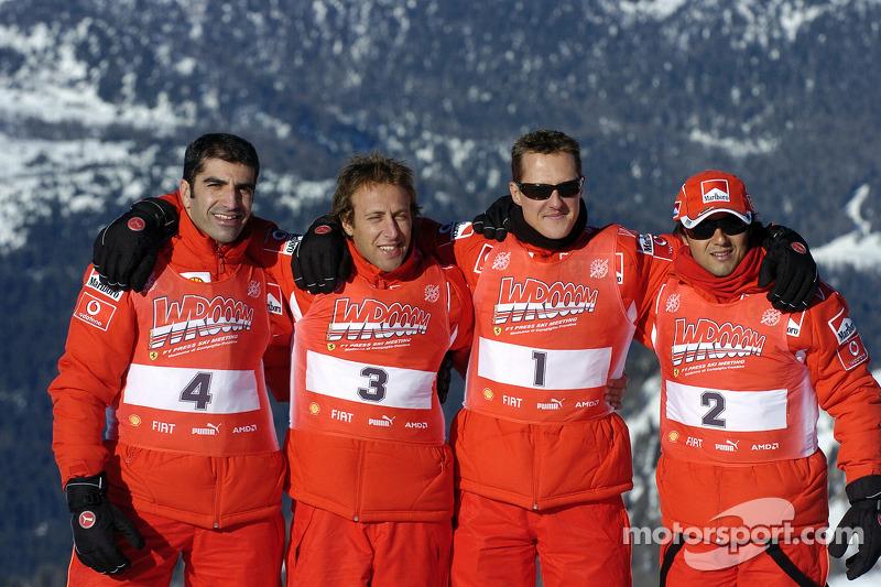 Marc Gene, Luca Badoer, Michael Schumacher and Felipe Massa