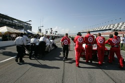 First row teams push their cars to the starting grid