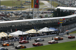 The field leave for pace laps