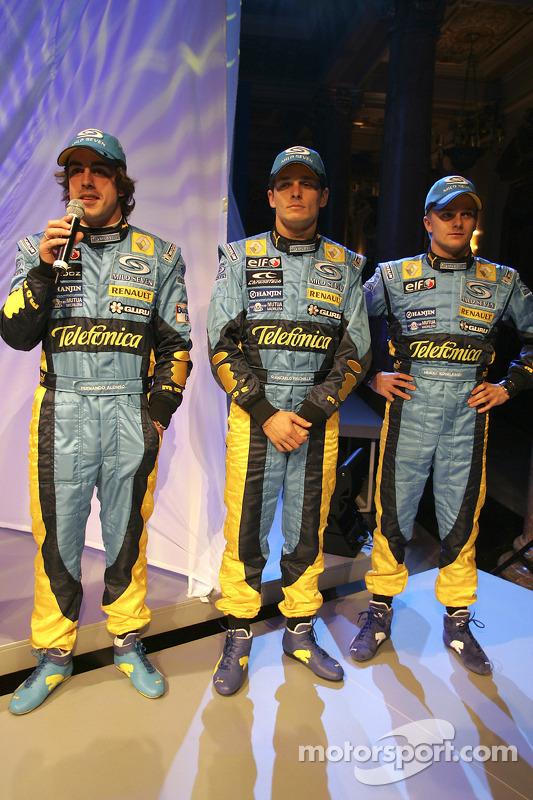 Fernando Alonso, Giancarlo Fisichella et Heikki Kovalainen sur scène