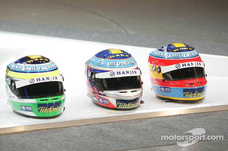 Helmets of Giancarlo Fisichella, Heikki Kovalainen and Fernando Alonso