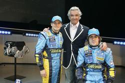 Giancarlo Fisichella, Flavio Briatore and Fernando Alonso