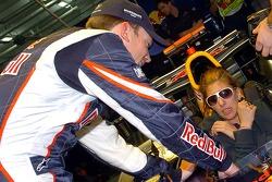 Formula Unas girls tour the paddock: Robert Doornbos with a Formula Unas girl