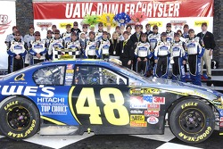 Victory lane: race winner Jimmie Johnson celebrates