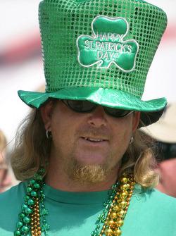 A fan celebrates St. Patrick's Day