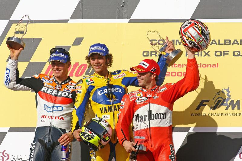 2006: Podium Qatar: Nicky Hayden, Valentino Rossi dan Loris Capirossi